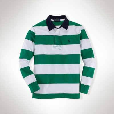 全新美國 Ralph Lauren Polo 白綠寬條紋繡馬長袖polo衫 大童S