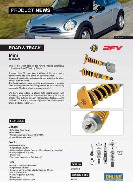 Mini R50 R53 Cooper S 02-07 專用 瑞典 Ohlins Road & Track 避震器