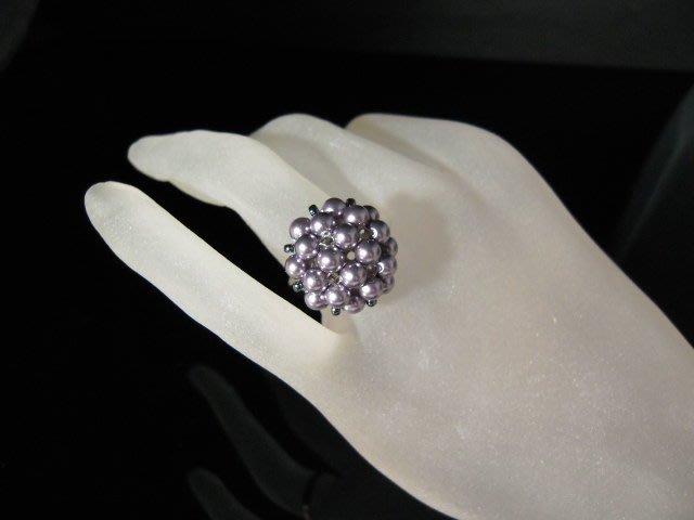 ※水晶玫瑰※ SWAROVSKI 水晶珍珠戒指~ 粉銀紫(HAND39)