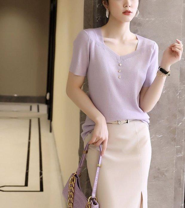 V領珍珠扣蠶絲螺紋針織衫 2202