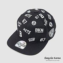 【Easy GO 韓國潮牌代購】NBA Brooklyn Nets 滿版布魯克林籃網隊關鍵字棒球帽