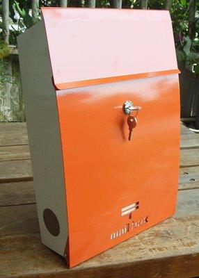 ☆成志金屬廠 ☆ 彩色不鏽鋼日式和風信箱---前開式 ---橘色