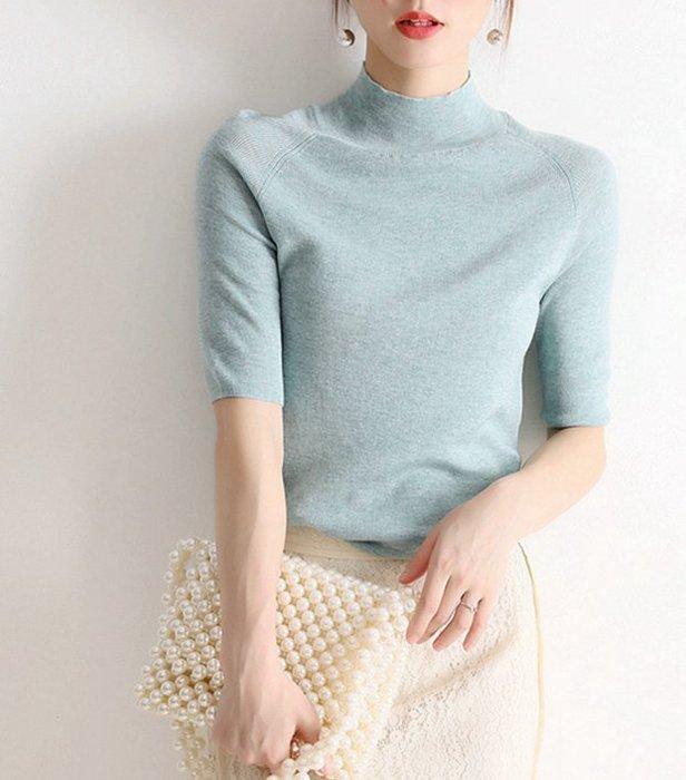 秋冬  氣質簡約彈性修身立領五分袖針織衫 基本款上衣 多色百搭[Classique*真經典] 093017