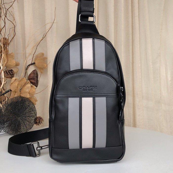 【紐約精品舖】COACH 73344 新款男士條紋拼色牛皮胸包 單肩包 斜跨包 休閒百搭 超低直購 美國正品代購