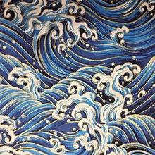 手工純棉印花棉布 140X100CM 全棉燙金布料 日本風格印花布 和風燙金