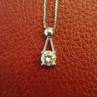 PT900鉑金 0.31克拉F VVS2 鑽石項鍊-含PT850鉑金鍊 火光很美 附購買資料及鑑定書