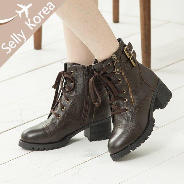 正韓 短靴 牛皮 綁帶 皮帶釦  金屬釦  拉鍊 粗跟 工程靴-Selly-沙粒-(KR281)2色