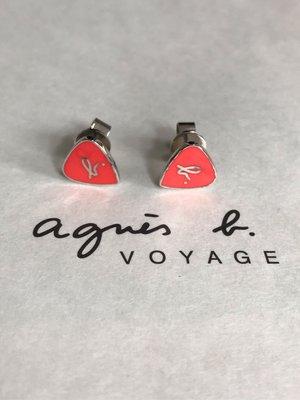 (最後3對) Agnes b Sport b 橙紅色 三角型 結他PICK型 耳環 (保証正貨) 1只$280