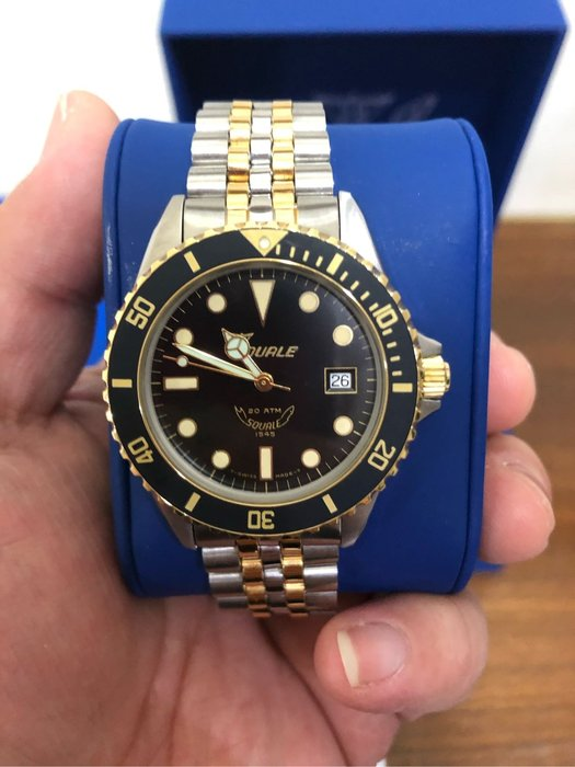 瑞士 SQUALE 鯊魚錶 黑面半金 五珠鍊帶 潛水錶 95%新 1545-058