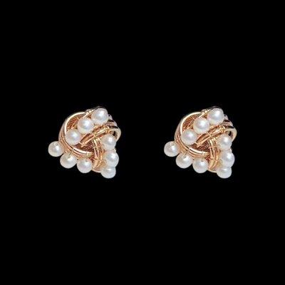 加恩韓版創意幾何形花瓣天然淡水珍珠耳環 新款14k注金手工耳釘飾品12311