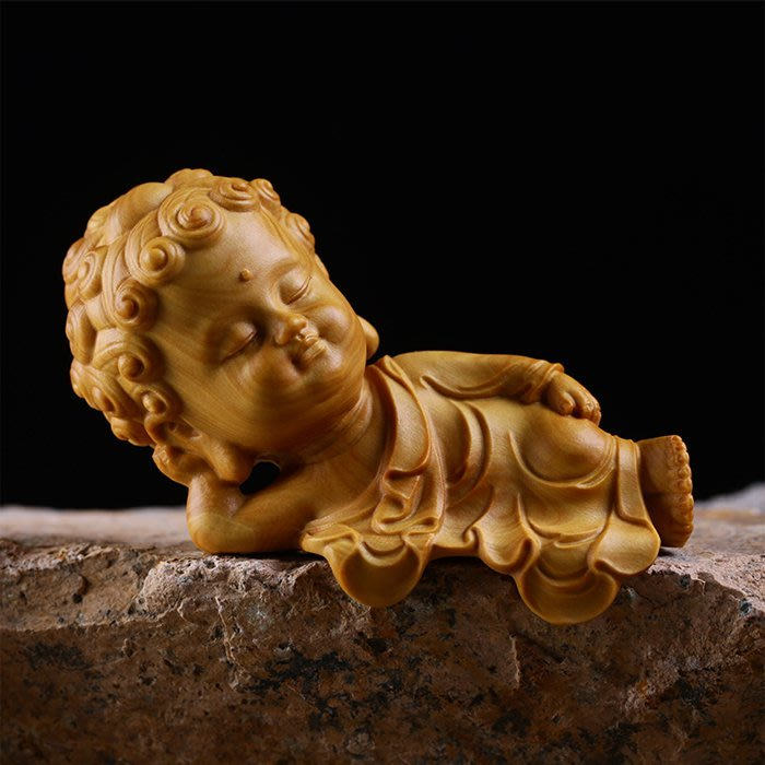 5Cgo【茗道】含稅561292611565 小葉黃楊木雕創意佛像家居小擺件禪意睡佛實木雕刻工藝品禮品臥佛精品古典釋迦