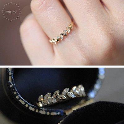 YJ03-法式手工輕珠寶-9K純黃金。唯美主義日系環繞小葉芽鑲嵌鋯石 桂冠女神戒指 簡約百搭 agete風格 vca