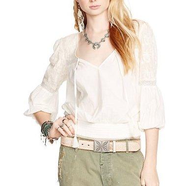 Debbies World 『Ralph Lauren 棉麻七分袖有型復古米白色上衣(M)』