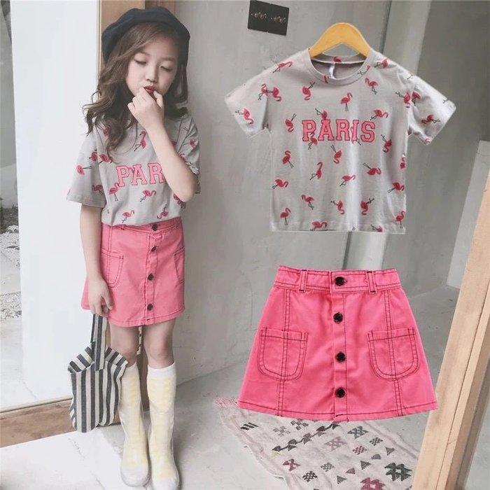 新款女童夏裝套裝韓版童裝女童時尚短袖上衣+短裙