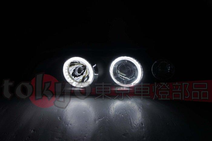 @Tokyo東京車燈部品@BMW E39 95 96 97 98 99 高亮版LED雙光圈魚眼黑底大燈一組