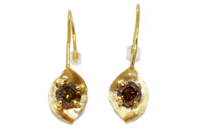 天然彩鑽 14K金輕珠寶 金葉在耳畔 橘棕鑽耳環 50分一對 另有GIA彩鑽