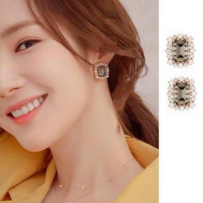 預購-韓劇她的私生活朴敏英同款耳環感少女耳釘水晶