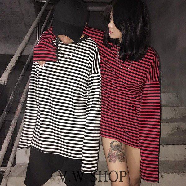 V.W SHOP 條紋內搭超長袖 黑白黑紅兩色 男女可穿 街頭 8 seconds x GD