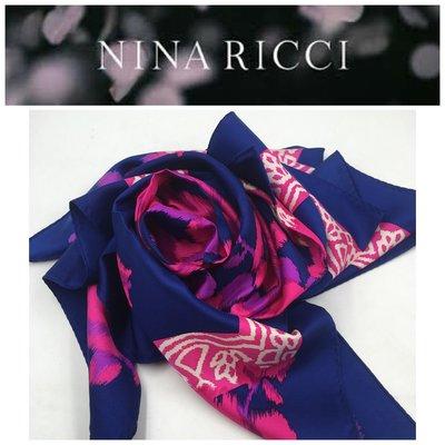 【皮老闆二店】二手真品 NINA RICCI 絲巾 藍637
