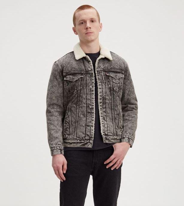 【羊絨裡毛領XS-XXL號】美國LEVI S Sherpa Trucker Jacket 黑灰雪花鋪棉袖牛仔外套保暖夾克