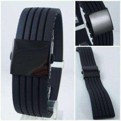 【錶帶家】ORIS F1 款黑色安全扣矽膠錶帶有17mm18mm19mm20mm21mm22mm23mm24mm用尺寸