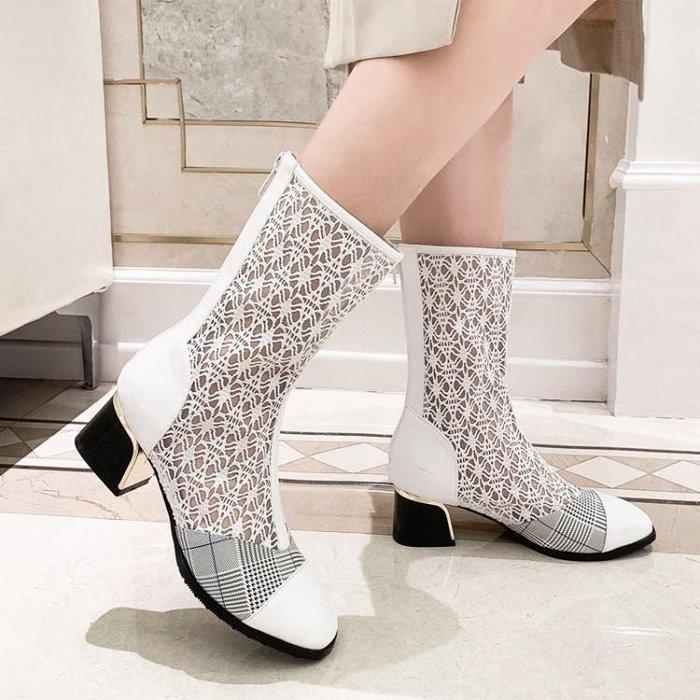 『紫藤花園』2020夏季靴子蕾絲高筒靴中跟時尚鏤空網紗女涼鞋粗跟單靴透氣涼靴A16