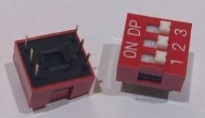 ►562◄指撥開關 撥碼開關 3位元 6腳 DIP平型 直插 2.54MM間距 紅色 編碼開關