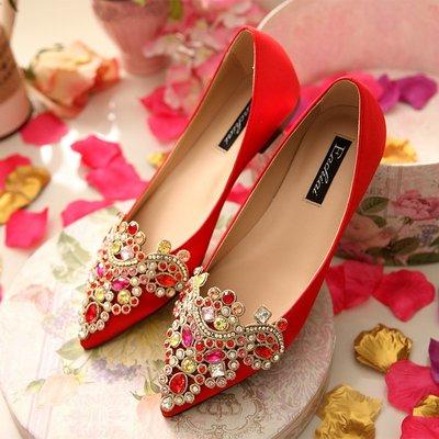 晚宴夜宴鞋名媛新款孕婦婚鞋紅色平跟婚鞋大碼結婚鞋新娘鞋女鞋繡花單鞋平底鞋