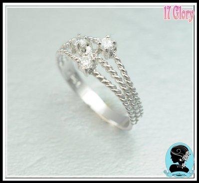 925純銀戒指 麻繩簡 約閃亮經典 簡約時尚 三顆小鑽閃亮永恆  ~ 歐美款 ~ 禮物精品✽ 17 Glory ✽