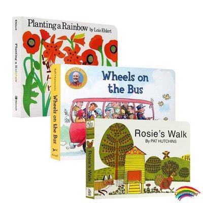 英文原版 Wheels on the Bus/Planting a Rainbow 紙板書  /Rosie's Walk