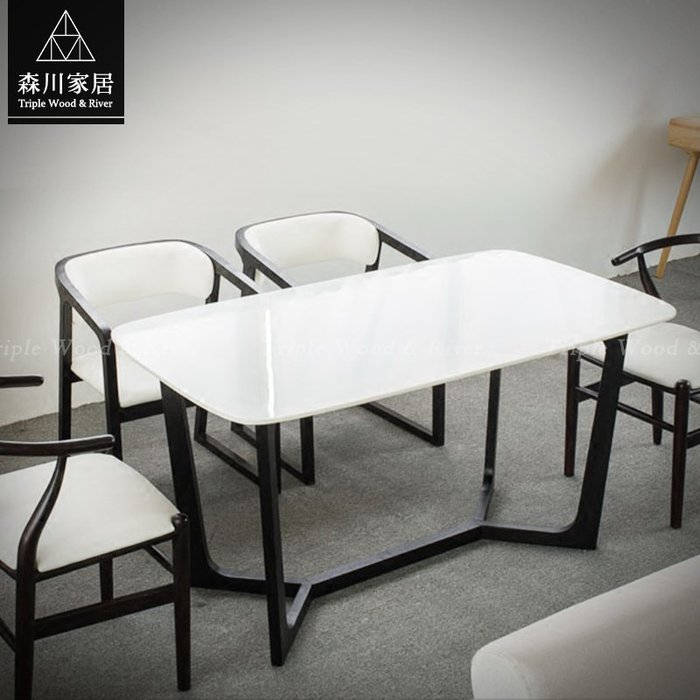 《森川家居》NRT-08RT05-北歐現代設計石面1.6米萬用桌 餐廳辦公室民宿/餐桌餐椅收納/LOFT品東西IKEA
