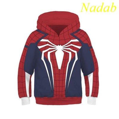 【Nabad】兒童款漫威英雄PS4蜘蛛俠3D印花套頭連帽衛衣外套童裝COS