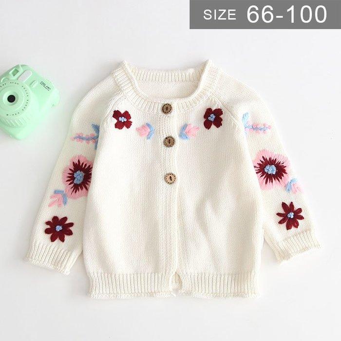 女寶寶小童針織外套。ROUROU童裝。春秋女寶寶小童95%棉鈎花針織毛衣外套 0230-091