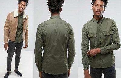 ◎美國代買◎ASOS暗扣雙口袋有蓋口袋裝飾軍裝風格合身長袖合身襯衫上衣~歐美街風~大尺碼