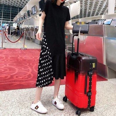 依人韓國專賣店歐洲站2020新款夏裝不規則裙子洋裝波點拼接氣質顯瘦短袖時尚連身裙女