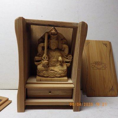 紫晶宮**精品隨身佛龕黃楊木虛空藏菩薩木雕佛像**盒子10.8釐米*7.6釐米*5.2釐米