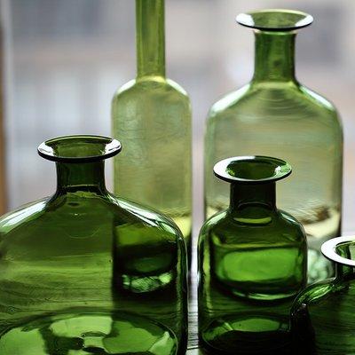 假花 裝飾假花 假花盆栽 落地假花【掬涵】苔綠色玻璃花瓶 藝術玻璃器皿大手工吹制裝飾美式鄉村