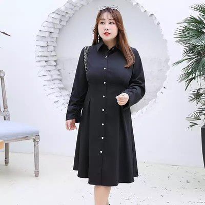 ✿plump girl 韓系✿大尺碼女裝顯瘦韓版襯衣款長袖連衣裙X025