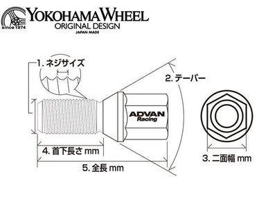 日本 ADVAN 鋁圈 螺絲 M14 x 1.50P 55mm 4顆 黑色