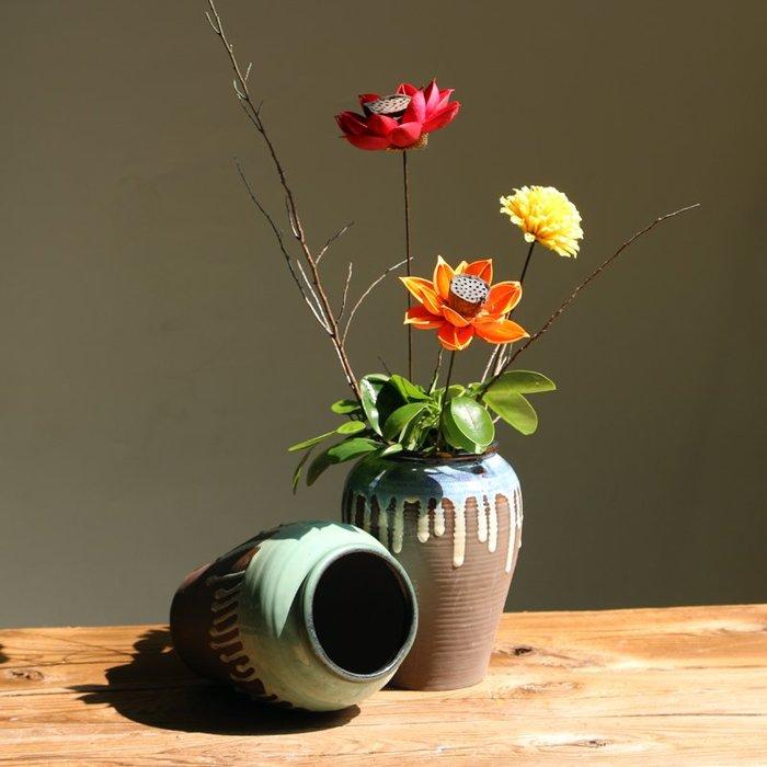 熱賣復古懷舊手工水滴釉陶器客廳玄關落地插花花藝陶瓷花瓶擺件#擺件#陶瓷#北歐