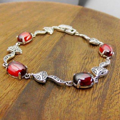 精緻life 銀飾品S925泰銀新款復古民族風狐貍瑪瑙手鏈紅石榴寶石手飾