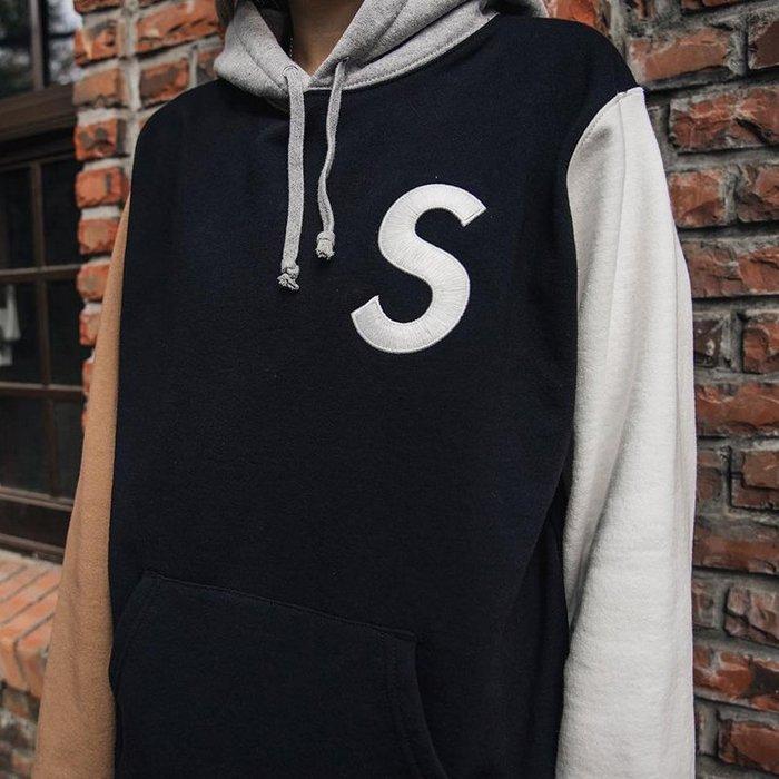 全新正品 2019 SUPREME 刺繡 S Logo Colorblocked Hooded Sweatshirt帽t