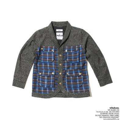 Wisdom 2012  F/W Checked Splicing Jacket 毛呢格紋外套 Size:S
