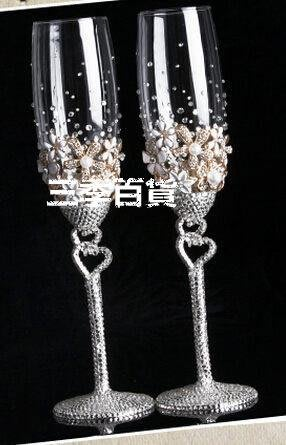 三季結婚新娘婚禮交杯酒高腳杯香檳對杯洋酒杯紅酒杯 禮品套裝❖762