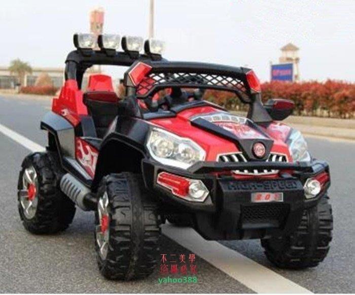 美學199男女通用戶外雙驅悍馬兒童電動車四輪遙控汽車電瓶車寶寶可坐玩具童車❖10134