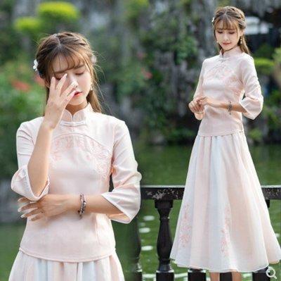 民國風改良漢服立領旗袍中式唐裝上衣女學生清新繡花顯瘦茶服套裝