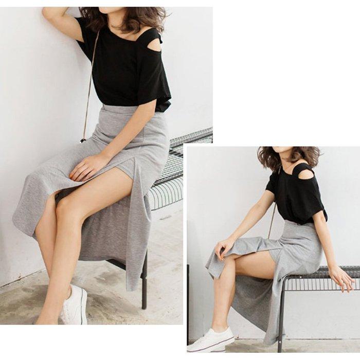 【Hao Da】全館399免運↘「M~XL。現貨」斜領口 吊帶寬鬆 竹節棉上衣 (C1182)