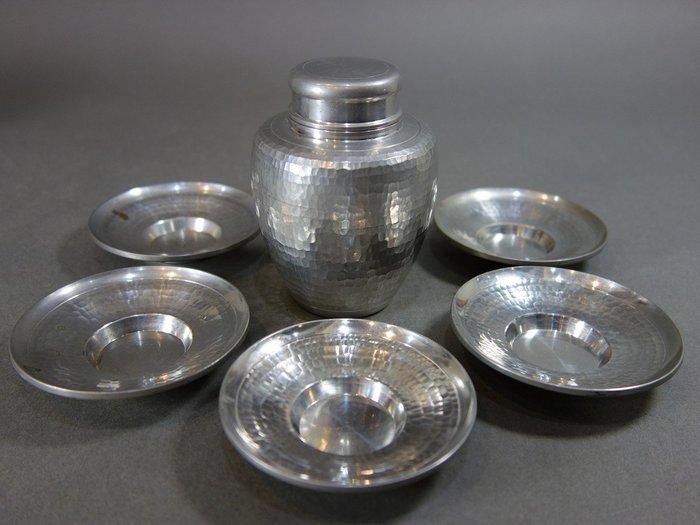 『華寶軒』茶道具 昭和時期 錫製 上錫 錫半造 細鎚木紋 中小型茶入茶托組