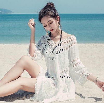 海邊度假比基尼罩衫 泳衣外套 镂空中長款沙灘衣 防曬外套—莎芭