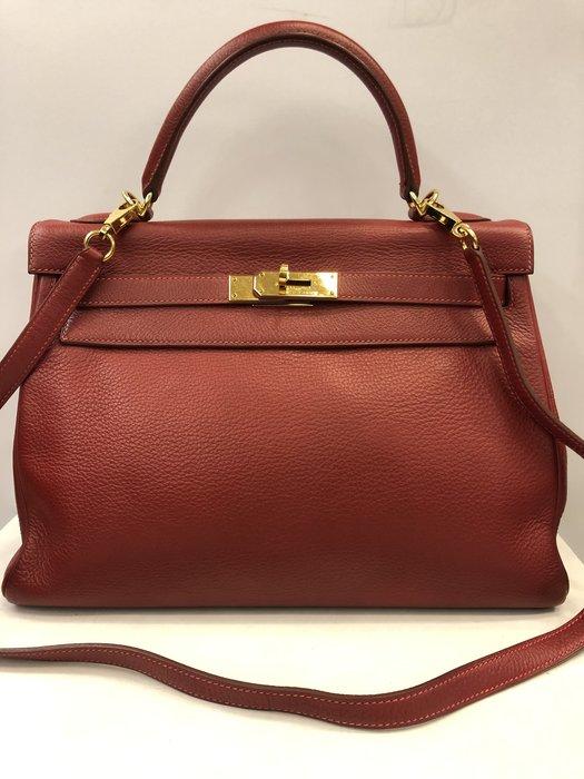 【RECOVER 名品二手】HERMES 紅色金扣凱莉包 28cm togo皮 100% 愛馬仕 真品
